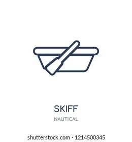 skiff icon. skiff linear symbol design from Nautical collection. Simple outline element vector illustration on white background.