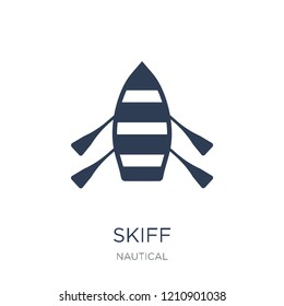 skiff icon. Trendy flat vector skiff icon on white background from Nautical collection, vector illustration can be use for web and mobile, eps10