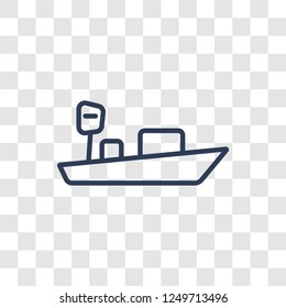 skiff icon. Trendy linear skiff logo concept on transparent background from Nautical collection