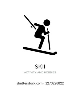 skii icon vector on white background, skii trendy filled icons from Activity and hobbies collection, skii simple element illustration