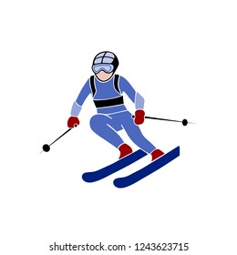Skiing downhill giant slalom athlete winter sport man vector. eps 10