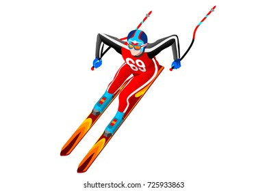 Skiing downhill giant slalom athlete winter sport man vector 3D isometric icon.