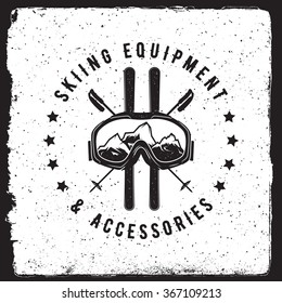 skiing emblem. logotype template. outdoor activity symbol with ink stamp texture