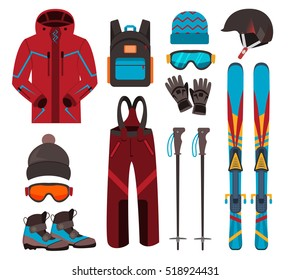 Skiing equipment vector icons. Set skis and ski poles. Winter equipment icons family vacation, activity or travel equipment sport mountain cold recreation.