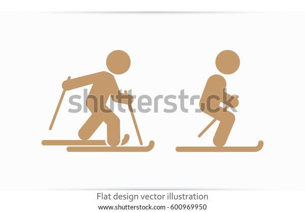 Skiing icon vector illustration eps10. Isolated badge for website or app