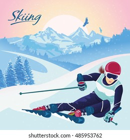 Skiing in the mountains. Vector illustration that promotes recreation, sports, tourism and travel. Colorful landscape with snow-covered hills and wild coniferous forest.