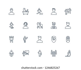 Skiing person, Man face with goatee, Fighting, spiky hair, Baby, Person Bathing, Oldman face, man riding Skateboarding outline vector icons from 20 set