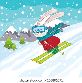 Skiing Rabbit in Winter Landscape