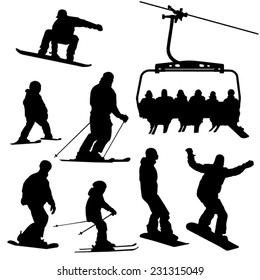Skiing, snowboarding people and ski lift vector silhouettes set