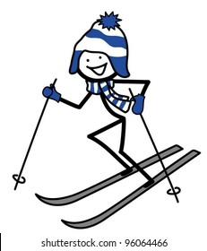 Skiing stick person