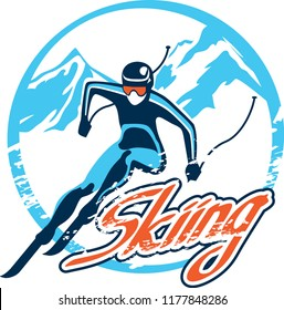 skiing stylized vector symbol, logo or emblem template. Skiing sport games badge design