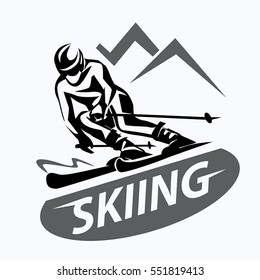 skiing stylized vector symbol, logo or emblem template