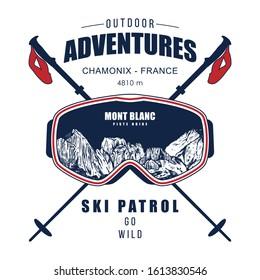 skiing t shirt print design, ski goggles and ski baton - Vector