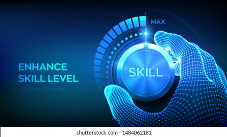Skill levels knob button. Increasing Skills Level. Wireframe hand turning a skill test knob to the maximum position. Concept of professional or educational knowledge. Vector illustration.