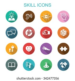 skill long shadow icons, flat vector symbols