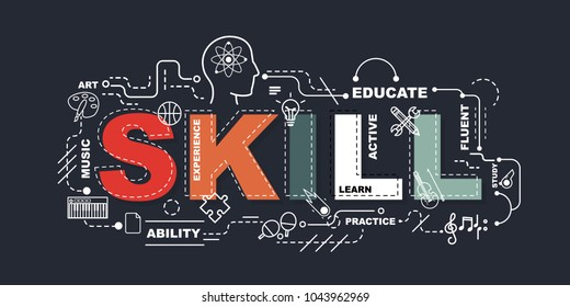 Skill word for education with icons flat design