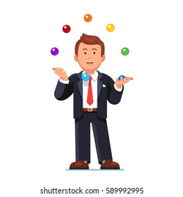 Skillful happy business man juggling colorful balls like juggler. Working concentration or multitasking concept. Flat style modern vector illustration isolated on white background.