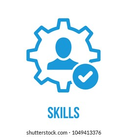 Skills icon with check sign. Skilled employee icon and approved, confirm, done, tick, completed symbol. Vector icon
