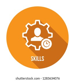 Skills icon with clock sign. Skills icon and countdown, deadline, schedule, planning symbol. Vector icon