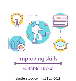 Skills improving concept icon. Education. Personal growth idea thin line illustration. Career ladder. Goal achieving. Vector isolated outline drawing. Editable stroke