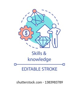 Skills and knowledge concept icon. Business consultant. Ability to education. Successful entrepreneur. Self development idea thin line illustration. Vector isolated outline drawing. Editable stroke