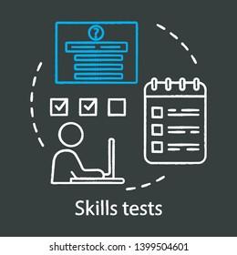 Skills tests chalk concept icon. Pre-employment job interview test idea. Job application, filling questionnaire vector isolated chalkboard illustration. Career development, chuckup quiz