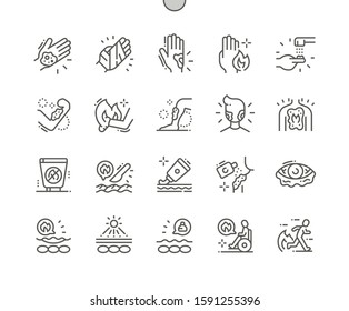 Skin Burns Well-crafted Pixel Perfect Vector Thin Line Icons 30 2x Grid for Web Graphics and Apps. Simple Minimal Pictogram