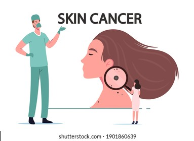 Skin Cancer Melanoma Dermatology Problem Concept. Tiny Doctor Oncologist Character Examine Woman Mole with Huge Magnifier Surgeon Awareness in Hospital, Health Care. Cartoon People Vector Illustration