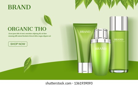 Skin care ad, Cosmetic product with green leaves template