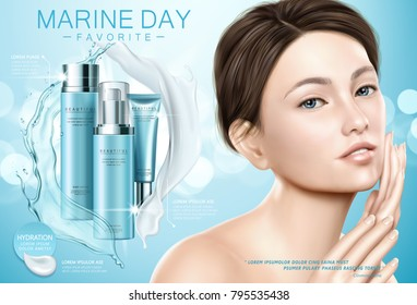 Skin care ads, attractive model with blue moisture cosmetic set, splashing cream and liquid texture in 3d illustration
