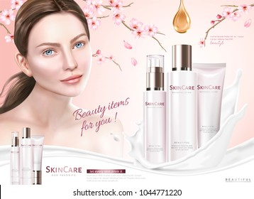 Skin care ads, cosmetic products with splashing creamy texture and sakura elements, 3d illustration