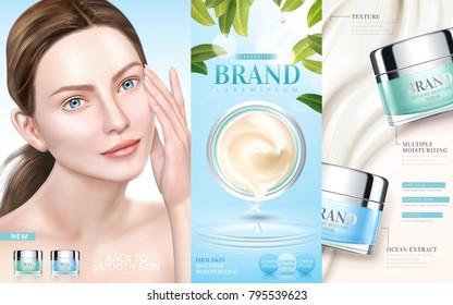 Skin care ads, moisturizing cream serum with an elegant model in 3d illustration