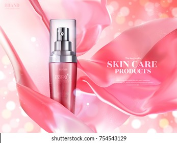 Skin care ads, pink spray bottle with floating satin elements isolated on bokeh glittering background in 3d illustration