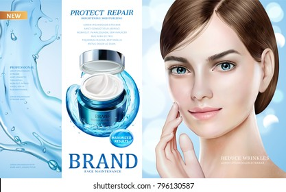 Skin care ads, pretty model in short hair with moisture cream jar and splashing water in 3d illustration, design for ad or magazine