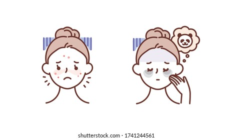 Skin care, beauty concept illustration. Woman with acne on face, woman with dark circles on face.