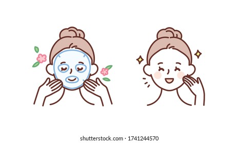 Skin care, beauty concept illustration. Woman doing skin care using a mask pack.