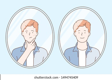 Skin care concept. Teenager before and after acne treatment procedure. A young guy, looking at the reflection of his face in the mirror in the bathroom. Simple flat vector.