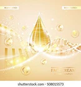 Skin care concept. UV Protection and whitening cream. Golden bubbles with letters over shining background. Vector illustration.