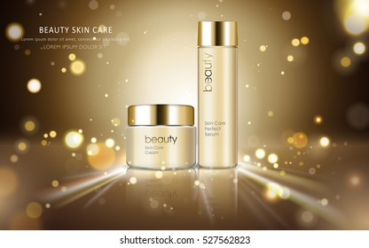 Skin care cosmetic ads, glossy bottle packaging for design with sparkling and bokeh background, 3D illustration