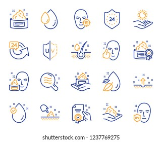 Skin care cosmetic line icons. Cream, Serum drop and Face gel or lotion icons. Uv protection. Oil, Vitamin E and Collagen symbols. 24 hour face care cream protection. Medical skin cosmetic. Vector