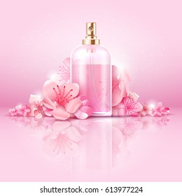 Skin care cosmetic vector concept. cosmetic with vitamin and collagen in bottle and sakura flowers. Cosmetic natural skincare, illustration of collagen cosmetic treatment