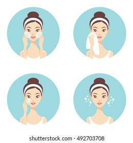 Skin care face cleanse washing beauty regimen vector illustration