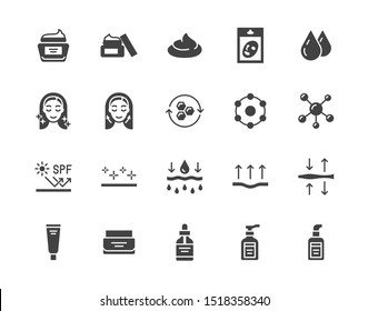 Skin care flat glyph icons set. Moisturizing cream, anti age lifting face mask, spf whitening gel vector illustrations. Signs for cosmetic product package. Silhouette pictogram pixel perfect.