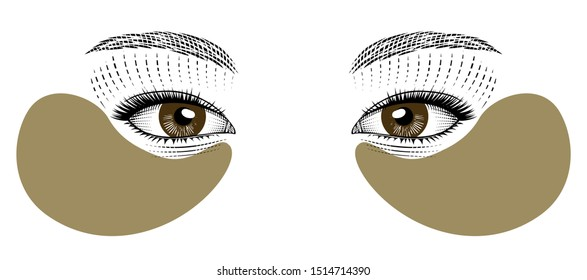 Skin care, Hydrogel Eye Patch. Lifting mask for the skin around the eyes. Eyes eastern girls. Vintage prints stylized drawing. Vector illustration.