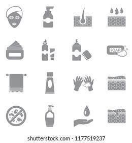 Skin Care Icons. Gray Flat Design. Vector Illustration.