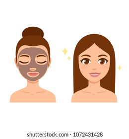 Skin care illustration set. Young beautiful girl with face mask and bright glowing skin after. Cartoon style vector art.