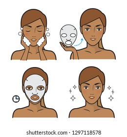 Skin care illustrations.Skin care routine icons set in line style. Vector illustration.