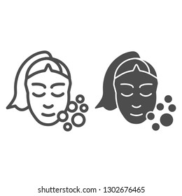 Skin care line and glyph icon. Girl washing face vector illustration isolated on white. Open pores outline style design, designed for web and app. Eps 10.