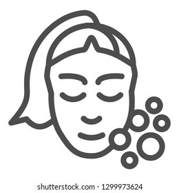 Skin care line icon. Girl washing face vector illustration isolated on white. Open pores outline style design, designed for web and app. Eps 10