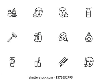 Skin care line icon set. Injection, lipstick, manicure. Beautician concept. Can be used for topics like beauty salon, makeup, cosmetology